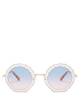 Chloé Tally Scallop Edged Metal Sunglasses - Womens - Purple