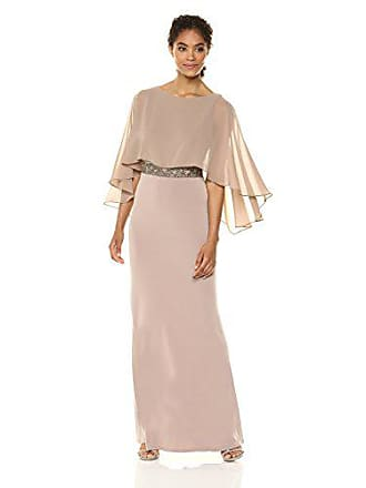Sangria Womens Capelet Gown with Beaded Waist, Taupe, 6