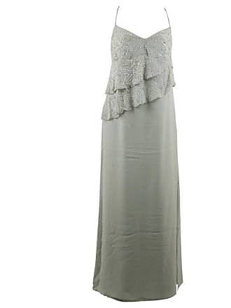 51d02a10bbe8 Valentino Green Silk Evening Maxi Dress With Beads And Ruffles 44 It