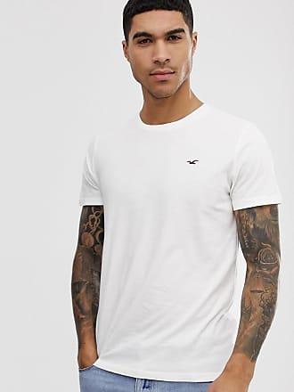 Hollister Weißes T-Shirt mit Möwenlogo und Rundhalsausschnitt