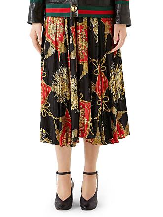 604270a91be6 Gucci Intrigue Floral Tassel Print Pleated Silk Midi Skirt