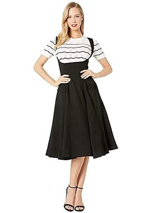 Unique Vintage 1950s High-Waisted Amma Suspender Swing Skirt (Black) Womens Skirt