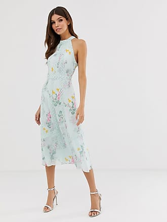 Ted Baker Pinkee lace insert midi dress in sorbet print - Blue