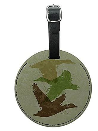 Graphics & More Graphics & More Ducks Flying Design Hunting Hunter Camo Round Leather Luggage Id Tag Suitcase, Black