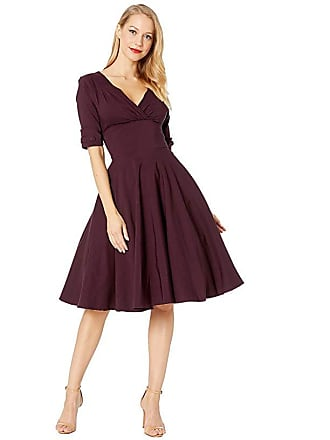 4f39680e84c0 Unique Vintage 1950s Delores Swing Dress with Sleeves (Eggplant Purple)  Womens Dress
