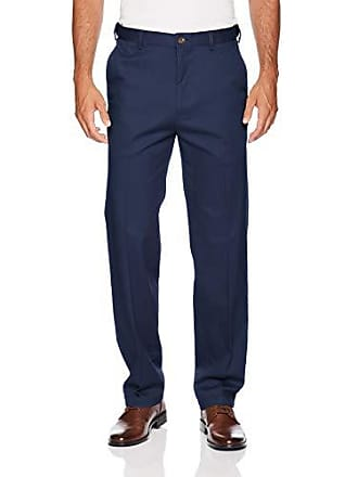 Haggar Mens Work to Weekend PRO Relaxed Fit Flat Front Pant, Navy, 40Wx30L