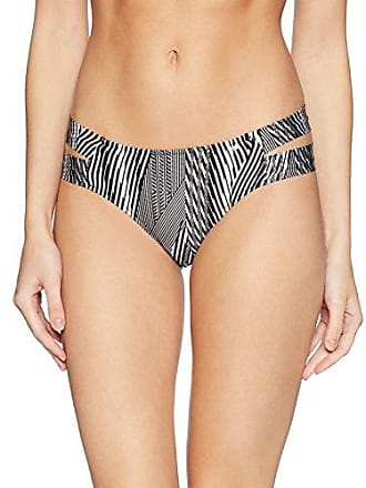 Guess Womens Zig Zag Printed Brazilian Bikini Bottom, Geometric Black/White, L