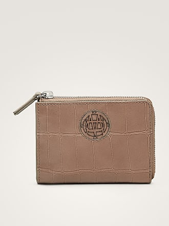 MASSIMO DUTTI LEATHER PURSE WITH MOCK CROC FINISH