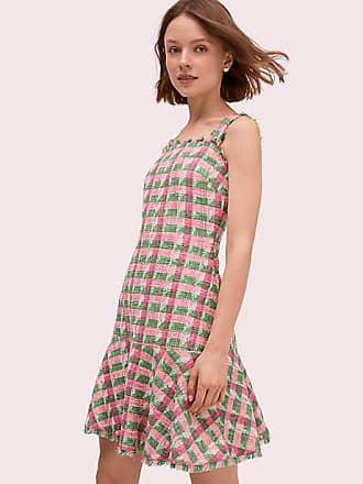 Kate Spade New York Plaid Tweed Sleeveless Dress, Bright Peony - Size 6