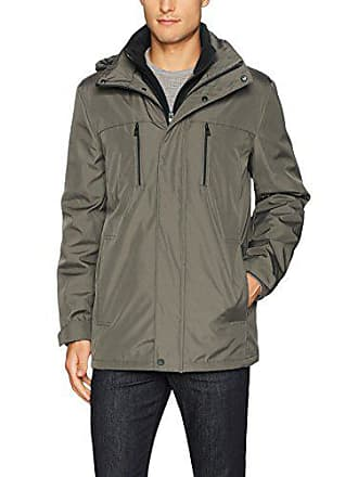 Kenneth Cole Reaction Mens Bonded Midweight Jacket with Fleece Zip Bib, Olive, Small