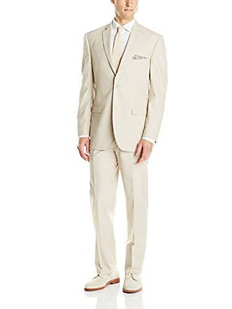 U.S.Polo Association Mens Two Button Pinfeather Twill Nested Suit, Tan, 40 Short