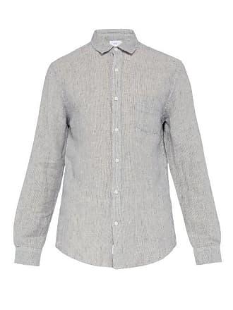 Onia Abe Striped Linen Shirt - Mens - Navy