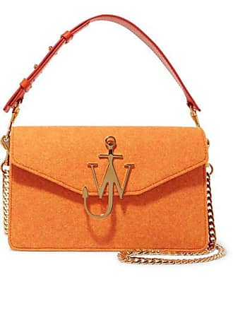 J.W.Anderson Logo Felt And Leather Shoulder Bag - Orange