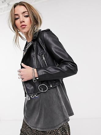 Bershka Kurze, schwarze Bikerjacke aus Kunstleder