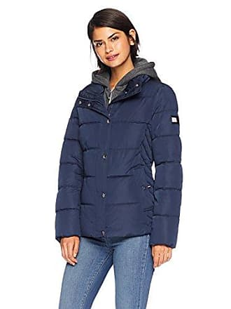 be7764e5 Tommy Hilfiger Womens Short Down Alternative Jacket with Zipout Fleece  Hood, Navy, L