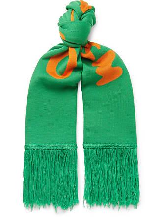 Off-white Fringed Logo-intarsia Wool Scarf - Green