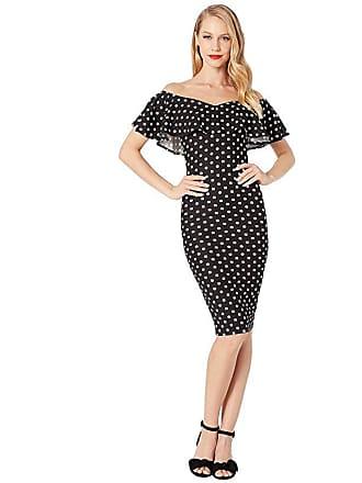 Unique Vintage Ruffle Sophia Wiggle Dress (Black/White Polka Dot) Womens Dress