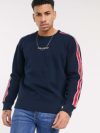 Hollister box logo crew neck sweat with taping in navy
