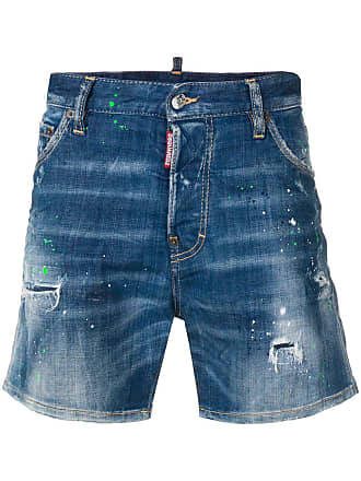 Dsquared2 paint splatter effect denim shorts - Blue