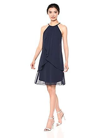 S.L. Fashions Intimate Apparel (Women) Solid Chiffon Halter Dress, Navy, 14