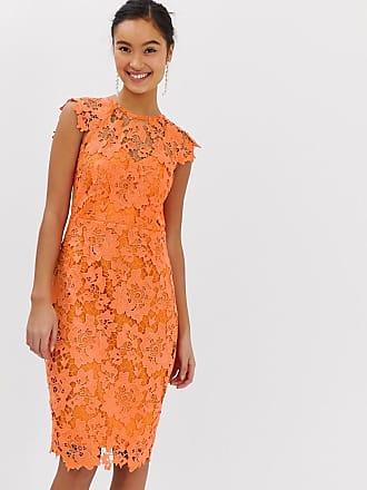 bbcff04ad45c Paper Dolls midi lace dress with scalloped back in orange - Orange