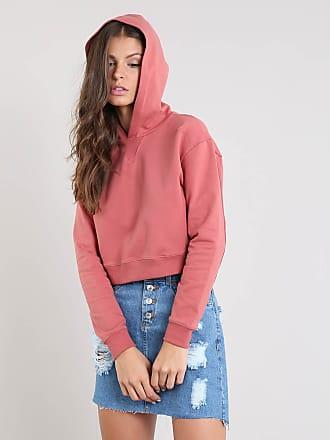 Basics Blusão Feminino Básico Cropped com Capuz em Moletom Rosa