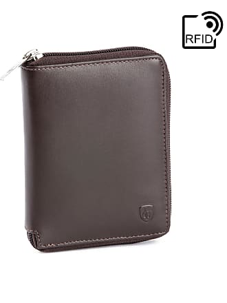 7308e163a0 dv Portafoglio uomo con Cerniera zip in Pelle Nappa Schermato con sistema  RFID e portamonete Marrone