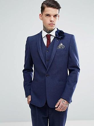 Asos ASOS Wedding - Marinblå kostymjacka med extra smal passform i  ullblandat material - Marinblå 2c51a02895b26