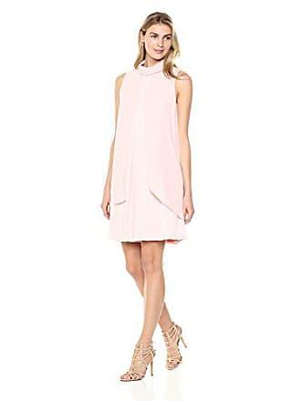 Ivanka Trump Womens Matte Jersey Sleeveless Georgette Overlay MOCNECK Dress, Blush, 10