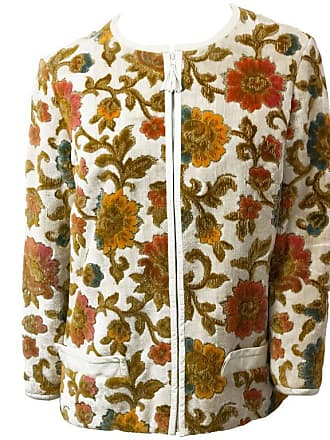 2b1adf32ada 1stdibs 60s Floral Tapestry Jacket With White Leather Trim