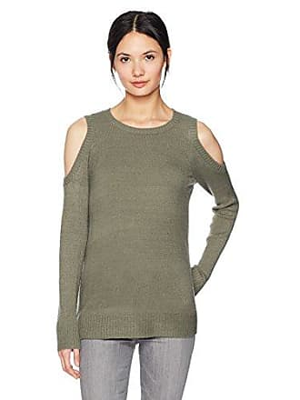 Kensie Womens Warm Touch Cold Shoulder Sweater, New Olive, XS