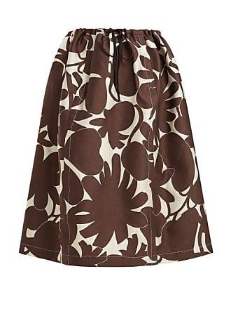 aacd9ad7fc Marni Avery Floral Print Midi Skirt - Womens - Brown White