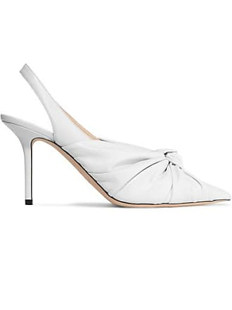 Jimmy Choo London Annabell 85 Knotted Leather Slingback Pumps - White