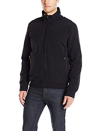 Kenneth Cole Mens Crinkle Nylon Lightweight Bomber, Black, Large