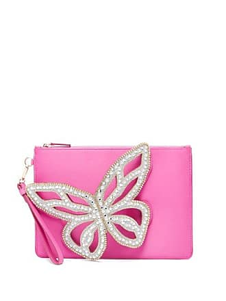 Sophia Webster Flossy Butterfly Satin Clutch - Womens - Pink