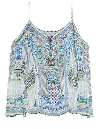 Camilla Camilla Woman Cold-shoulder Crystal-embellished Printed Silk Crepe De Chine Top Sky Blue Size XL
