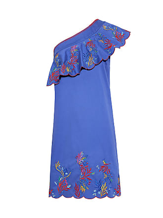 6cb76b66661db6 Saloni Esme Ruffle One-Shoulder Embroidered Mini Dress Blue