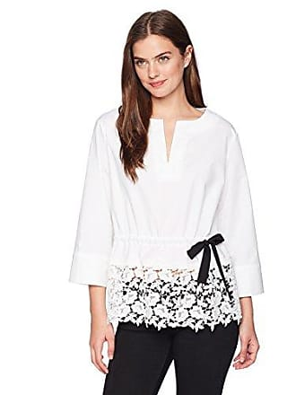 c61f16b196f2bb Ellen Tracy Womens Split Neck Peplum Top with Lace Trim, White, M