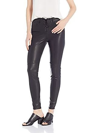 William Rast Womens Perfect Skinny Moto Vegan Leather Pant, Black, 30