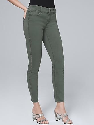 White House Black Market Womens Mid-Rise Embellished-Stripe Cropped Jeans by White House Black Market, Cool Olive, Size 16 - Regular