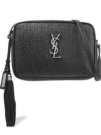 Saint Laurent Lou Raffia And Leather Shoulder Bag - Black
