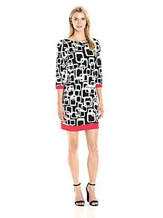 0622174b7ac7 Ronni Nicole Womens 3/4 Sleeve Geo Printed Shift Dress with Contrast Trim,  Black