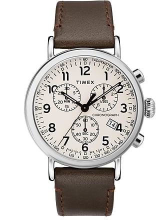 Timex Watch Mens Standard Chronograph 41MM Leather Strap Silver-Tone/brown/cream Item Tw2T21000Vq