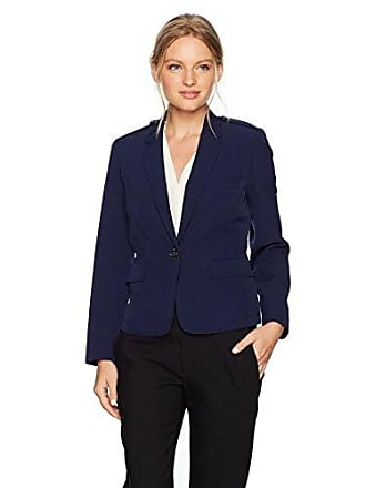 Kasper Womens Petite Size Stretch Crepe 1 Button Notch Lapel Jacket, Indigo 4P