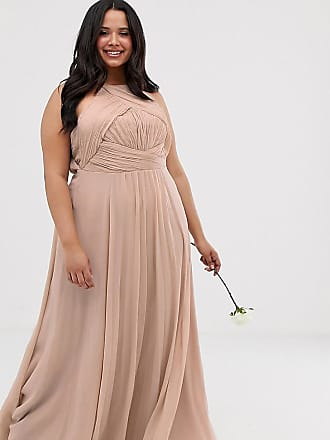 Asos Curve ASOS DESIGN Curve Bridesmaid pinny maxi dress with ruched bodice-Pink