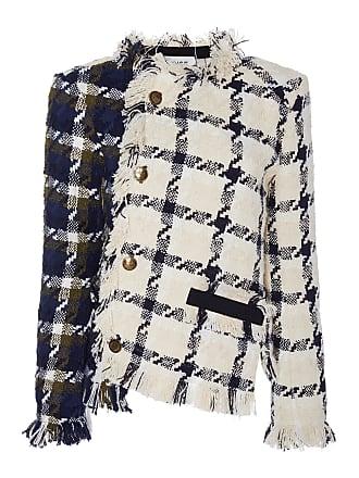 Monse Two-Tone Frayed Tweed Jacket