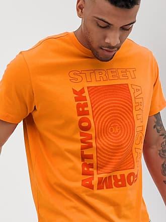 Bershka T-Shirt mit bedruckter Vorderseite, in Orange