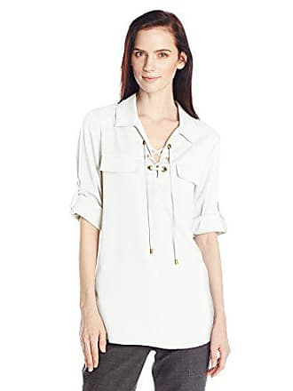 Calvin Klein Womens Modern Essential Lace-Up Blouse, Soft White, Large