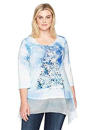 Oneworld Womens 3/4 Sleeve Holiday Printed Top with Chiffon Hem, Deck The Halls- Purity, L