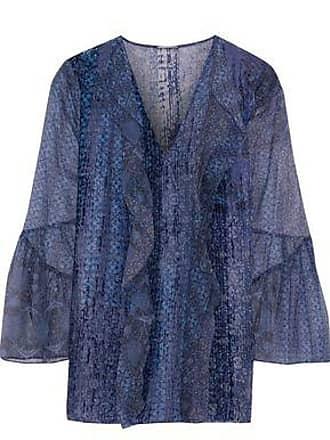 b397cd64ad9a12 Elie Tahari Elie Tahari Woman Beverly Printed Flocked Silk-chiffon Blouse  Indigo Size XS